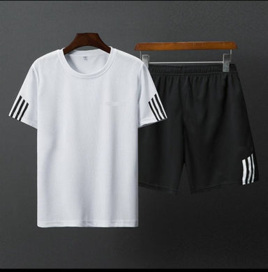 White Striped Polyester Spandex Tees & Short Set