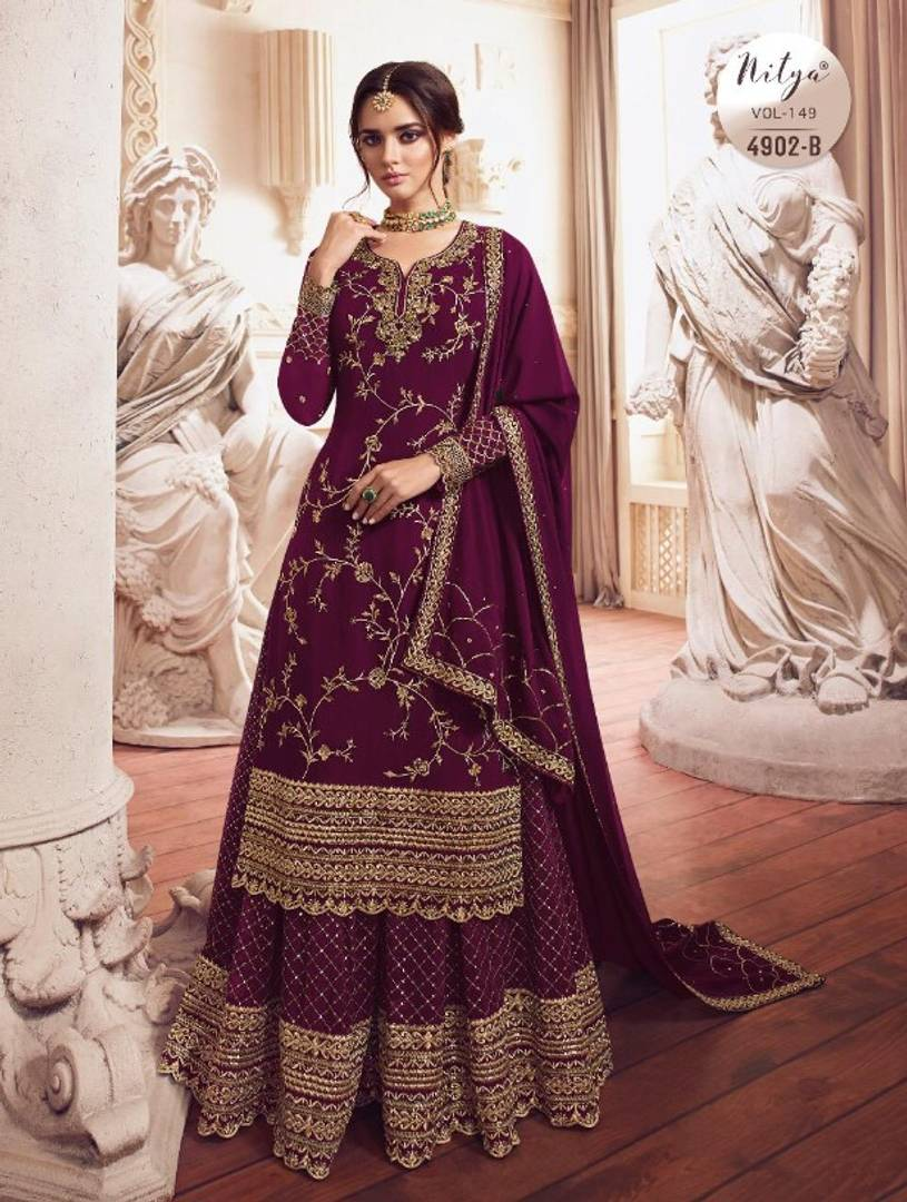 Stylish Faux Georgette Sequined With Embroidered Semi- Stitched Salwar Suit With Dupatta Set