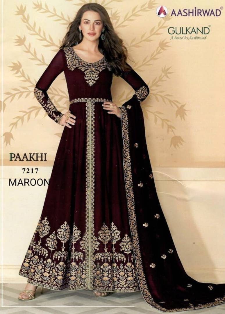 Stunning Maroon Bluming Georgette Zari Embroidered Women Top Bottom Set with Dupatta