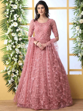Women's Pink Net Embroidered Ethnic Gown with Dupatta