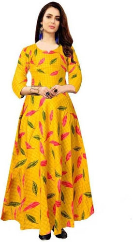 Women's Beautiful Rayon Jaipuri Printed Gown with Belt