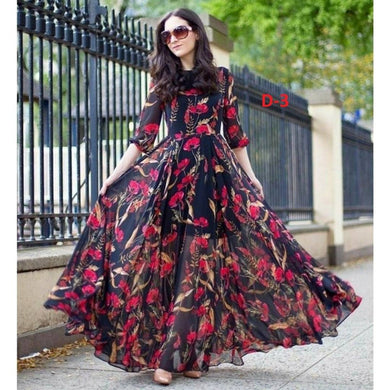 Stylish Faux Georgette Digital Floral Printed Gown