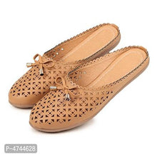 Load image into Gallery viewer, Women's Stylish Beige Synthetic Mules