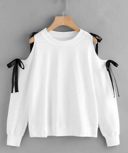 RBT- WHITE FULL SLEEVE COLD SHLDR TOP