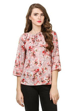 Load image into Gallery viewer, Stylish Rayon Pink Floral Print Round Neck Key Hole Design Top For Women