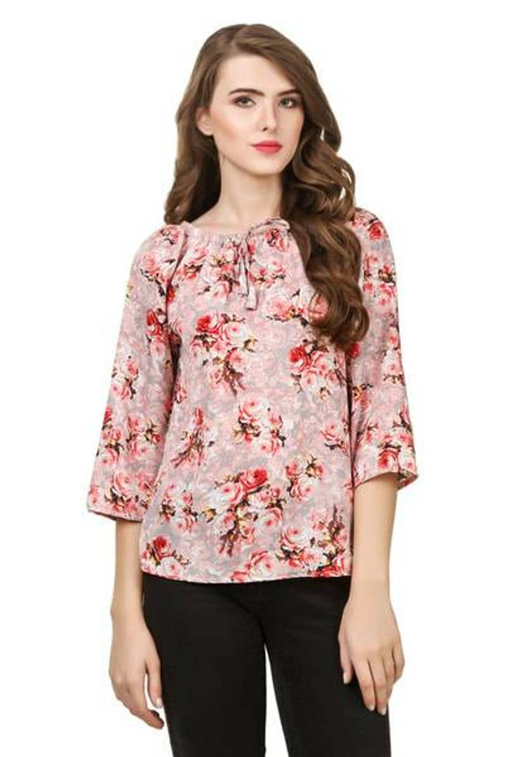 Stylish Rayon Pink Floral Print Round Neck Key Hole Design Top For Women