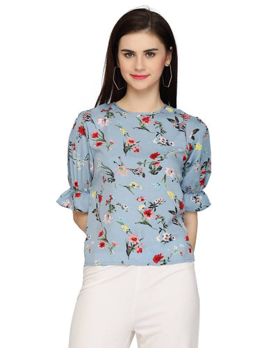Stylish Polyester Blue Floral Print Round Neck And Regular Fit With Frill Sleeve Top For Women