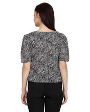 Load image into Gallery viewer, Stylish Polyester Black Leopard Print V Neck And Regular Fit With Puff Sleeves Top For Women