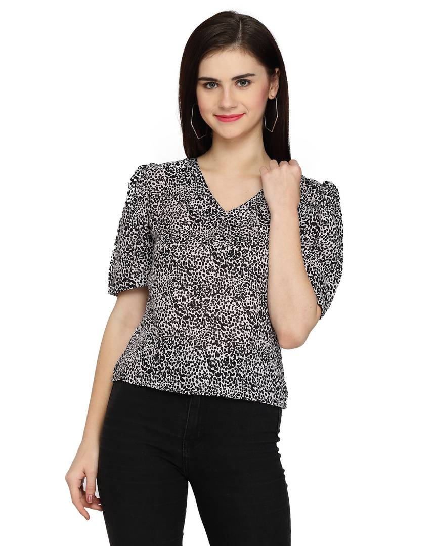 Stylish Polyester Black Leopard Print V Neck And Regular Fit With Puff Sleeves Top For Women