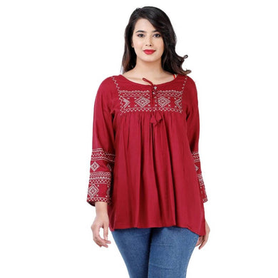 Elegant Maroon Rayon Embroidered Tops For Women