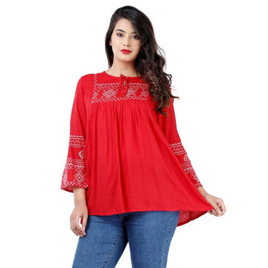 Elegant Red Rayon Embroidered Tops For Women