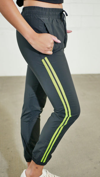Black and Neon Green Active Pants