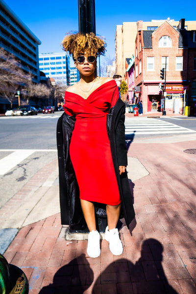 Red Off The Shoulder Wrap Midi Dress
