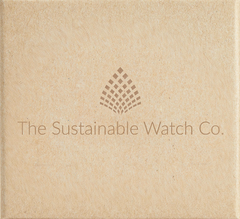 The sustainable watch company logo on sustainable, renewable and recycling packaging