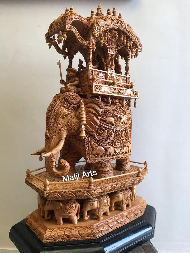 Big Size Wooden Fine Carved Ambabari Royal Safari - Arts99 - Online Art Gallery