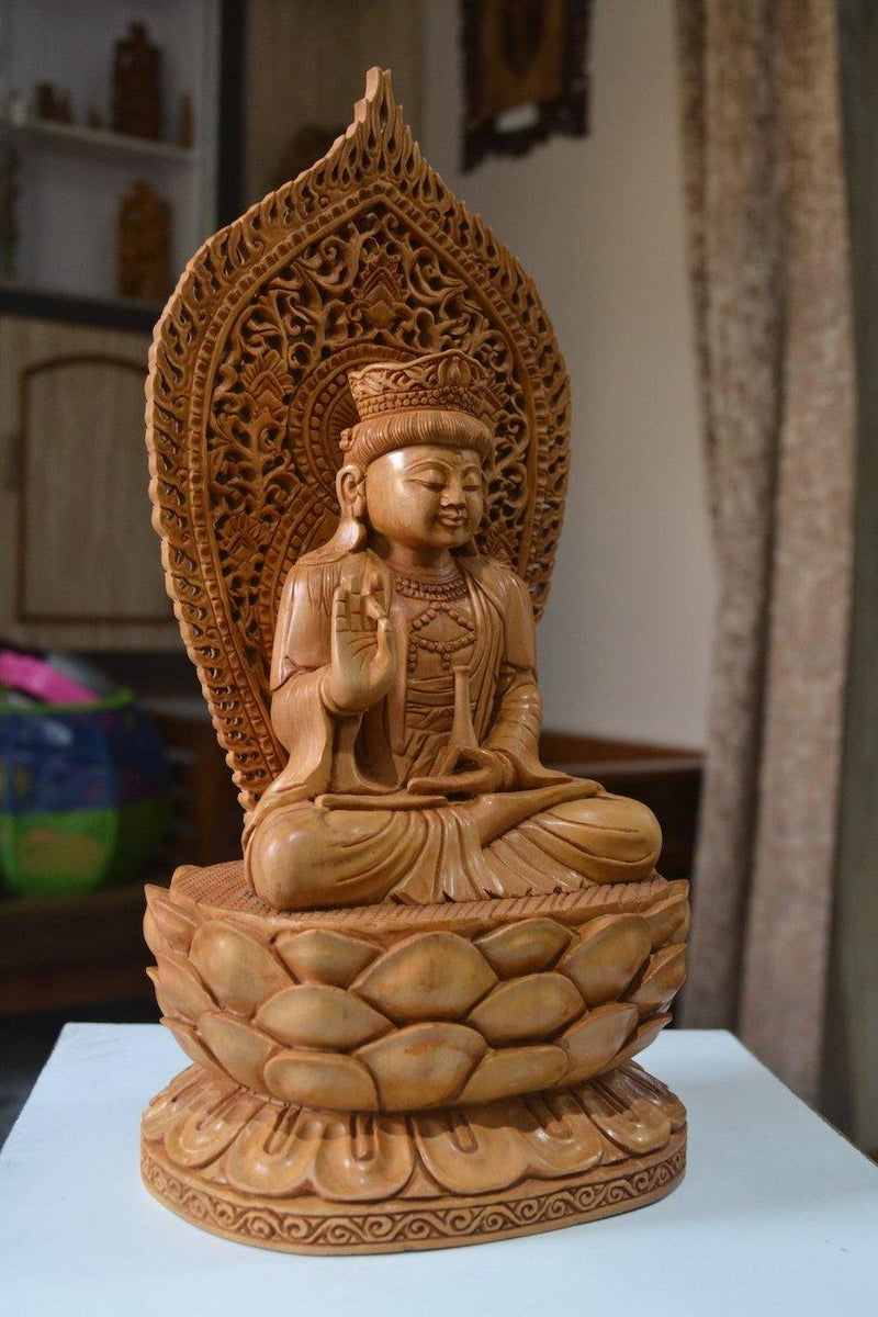 1 ft Beautifully Carved Wooden Jali Buddha Sitting Statue - Arts99 - Online Art Gallery