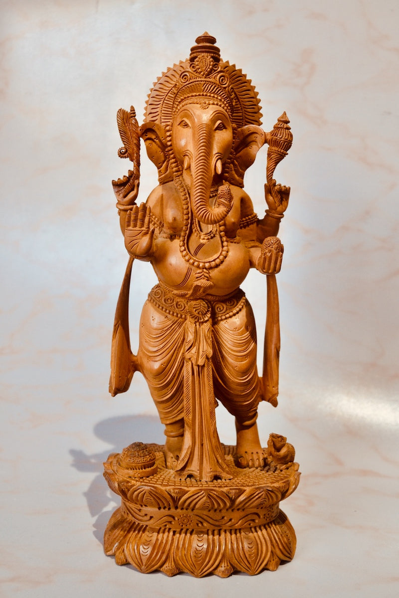 Wooden Standing Ganesha With Fine Detailed Carved Statue - Arts99 - Online Art Gallery