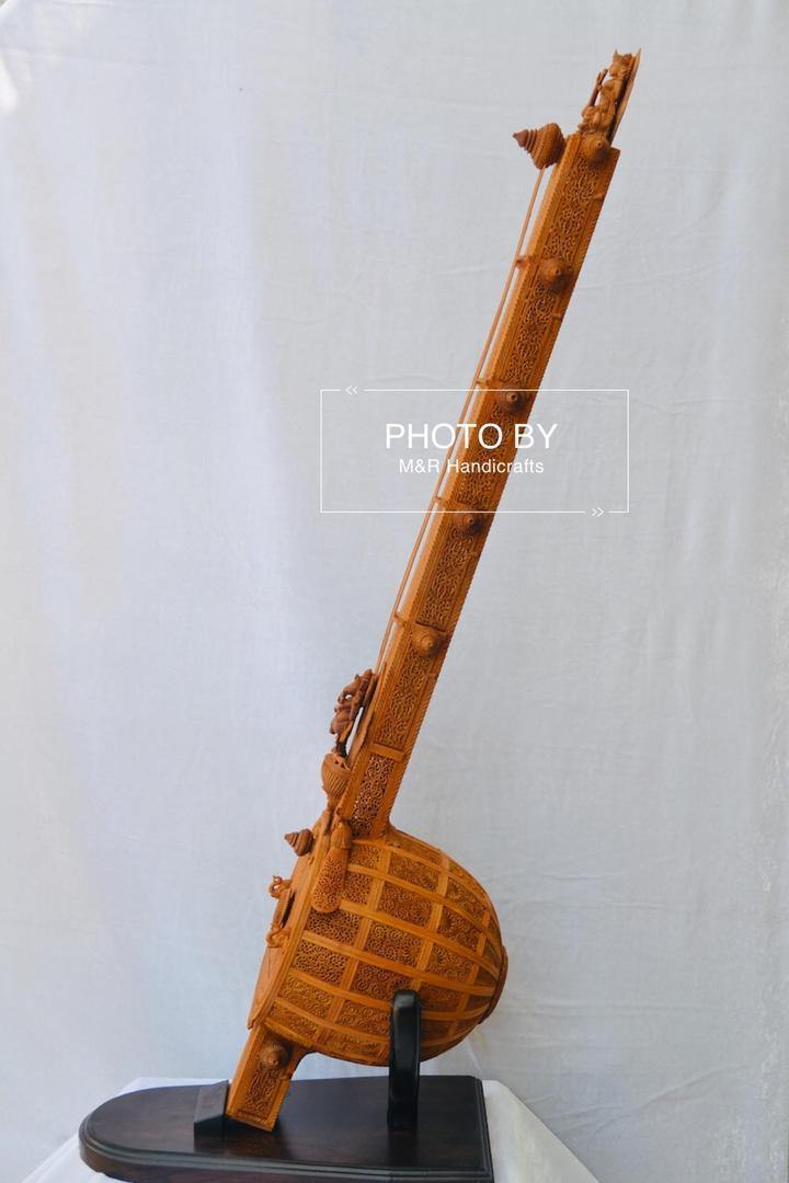 Unique 4ft Sandalwood Carved Opening Sitar or Veena Collective Art - Arts99 - Online Art Gallery