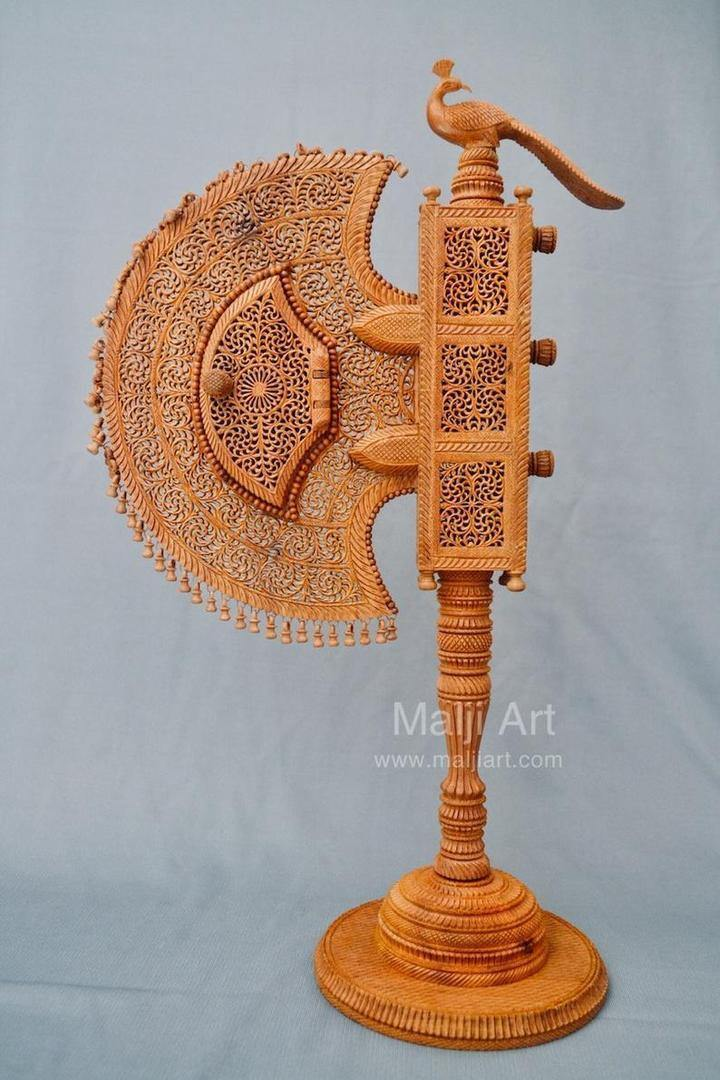 Sandalwood Unique Beautiful Krishna Collective Miniature Carved Hand Fan - Arts99 - Online Art Gallery