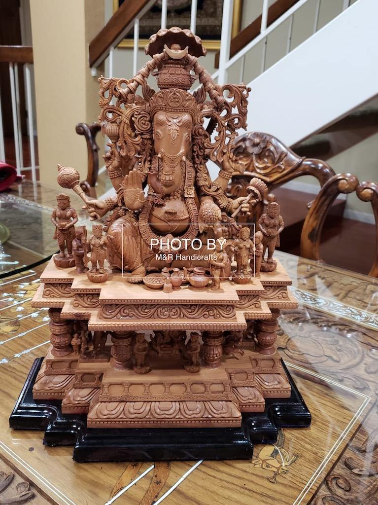 Sandalwood Special Carved GANESH DARBAR Statue - MR Handicrafts