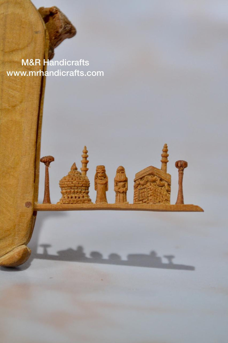 Sandalwood Miniature Carved Peapod Bean Features The Makkah Madina Inside - Arts99 - Online Art Gallery