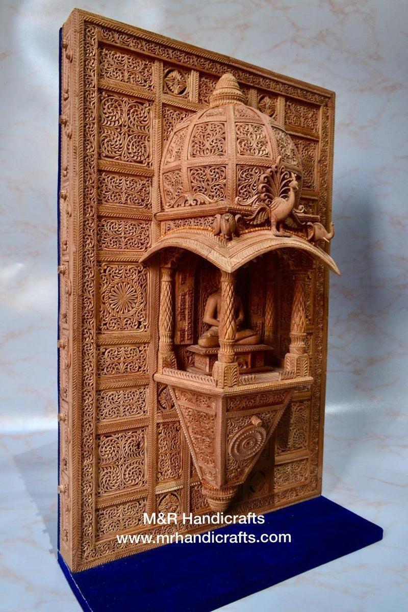 Sandalwood Carved Lord Mahaveera Jainism Jharokha with 14 Opening Lids - Arts99 - Online Art Gallery
