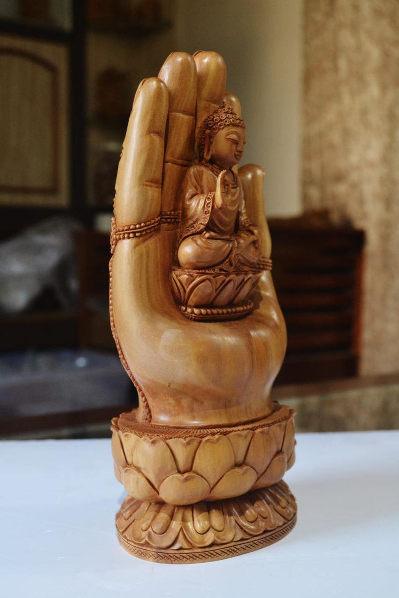 Sandalwood handmade Buddha statue in palm collectible Home Decor Gift - Arts99 - Online Art Gallery