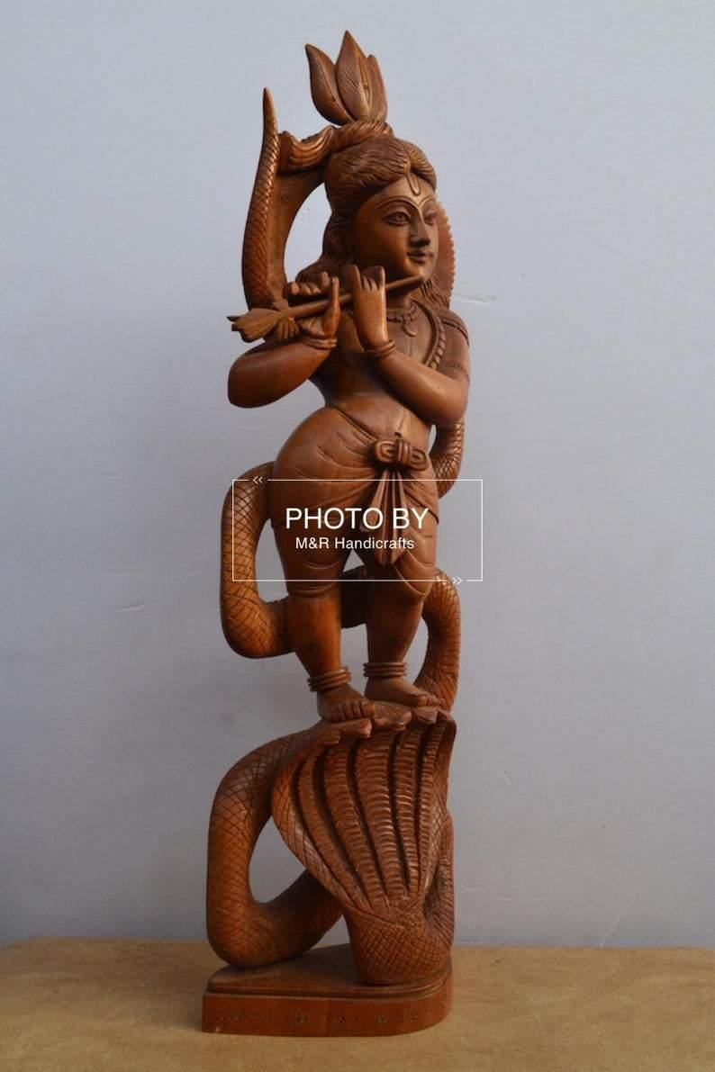 Sandalwood Antique Baby Krishna on Kalia Naag / Snack - Arts99 - Online Art Gallery
