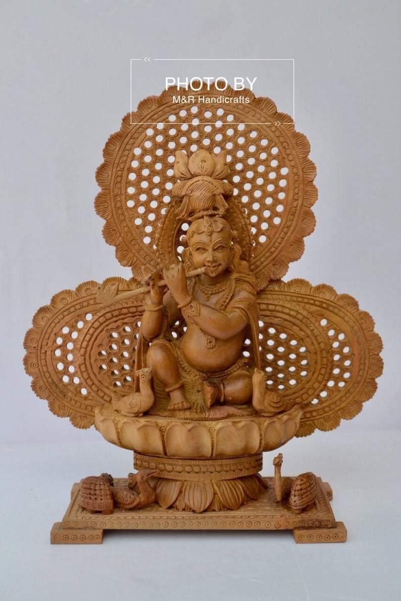 Sandalwood Carved Baby Krishna Statue with Unique Base - Arts99 - Online Art Gallery