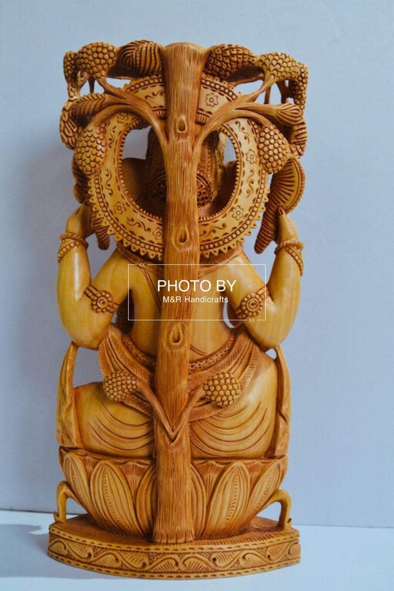 Wooden Fine Carved Ganesha Statue Under Tree - Arts99 - Online Art Gallery