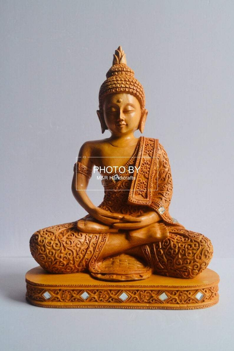Wooden Beautifully Hand Carved Buddha Meditation - Arts99 - Online Art Gallery