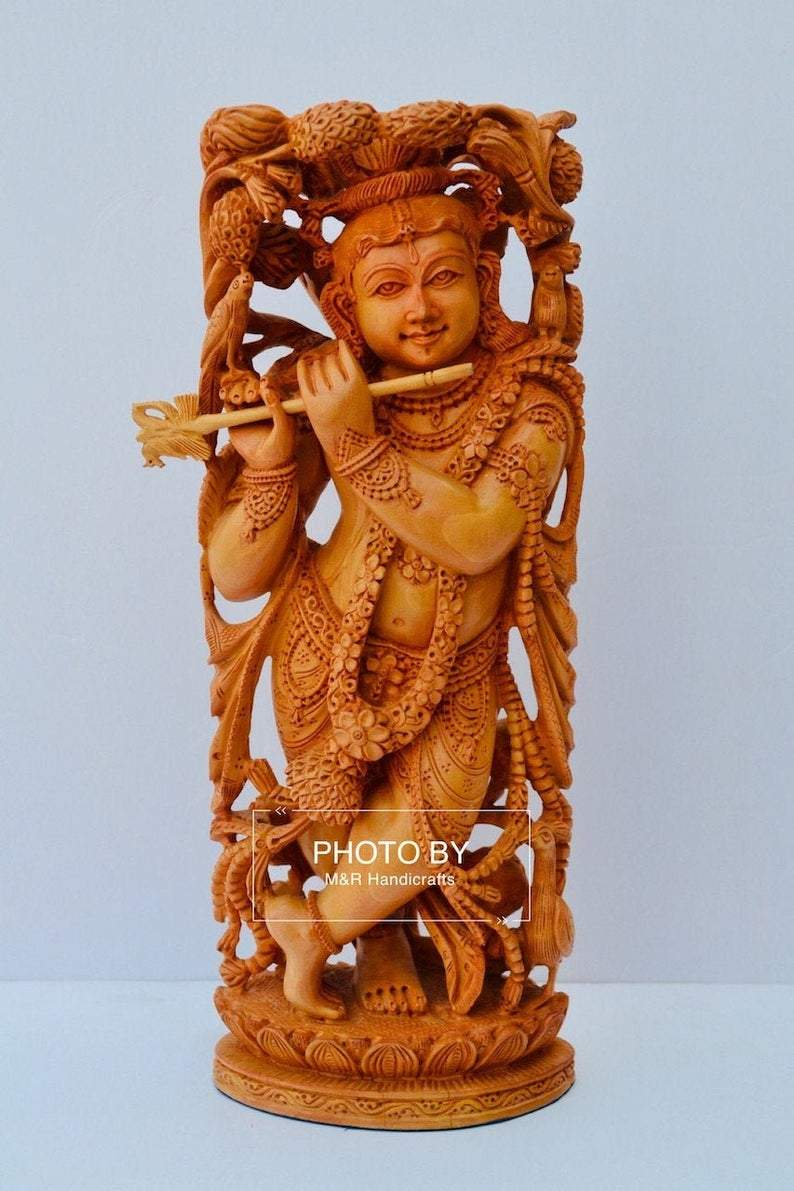 Wooden fine carved baby krishna statue - Arts99 - Online Art Gallery
