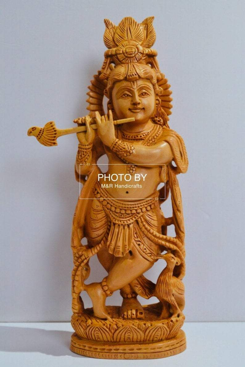 Wooden Hand Carved Baal Krishna Standing - Arts99 - Online Art Gallery