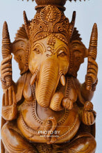 Load image into Gallery viewer, Sandalwood Beautifully Hand Carved Ganesha Chatri or umbrella - Arts99 - Online Art Gallery