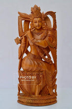 Load image into Gallery viewer, Sandalwood Very Fine Carved Sitting Lord Krishna Statue - Arts99 - Online Art Gallery