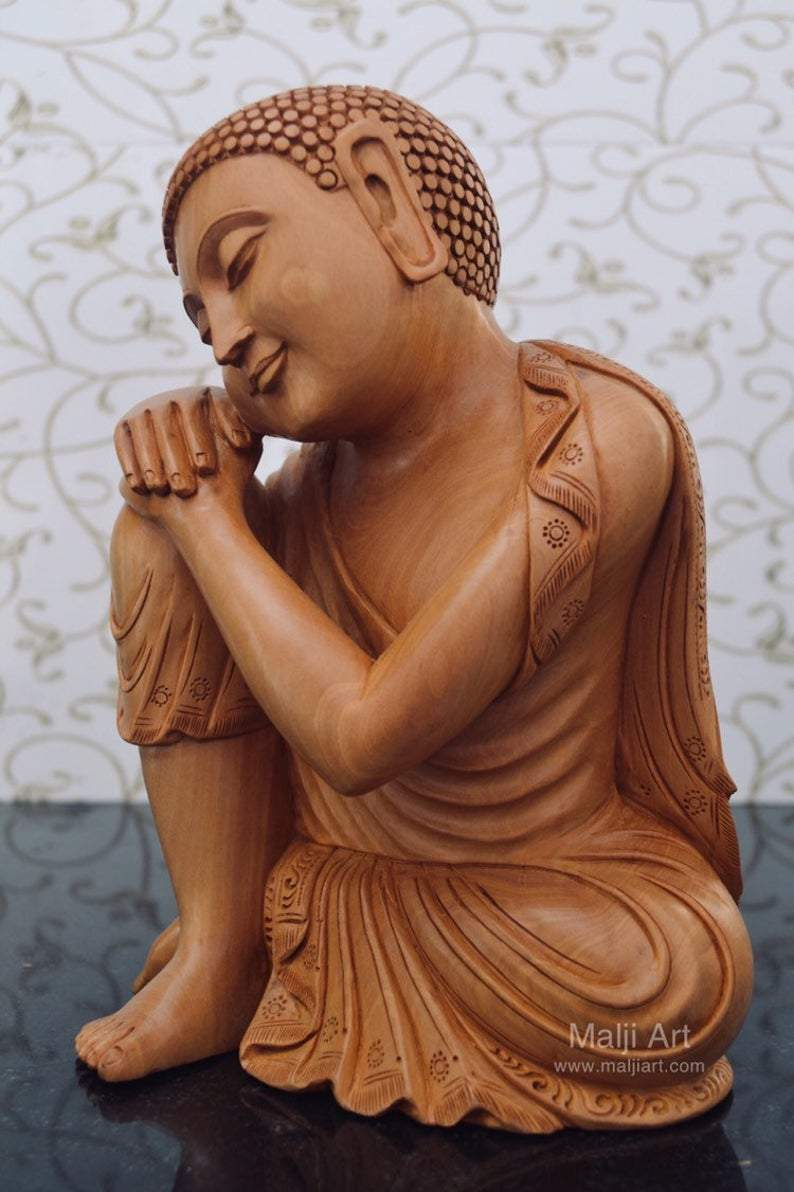 Fine Wood Carved Smiling Resting Buddha Statue - Arts99 - Online Art Gallery
