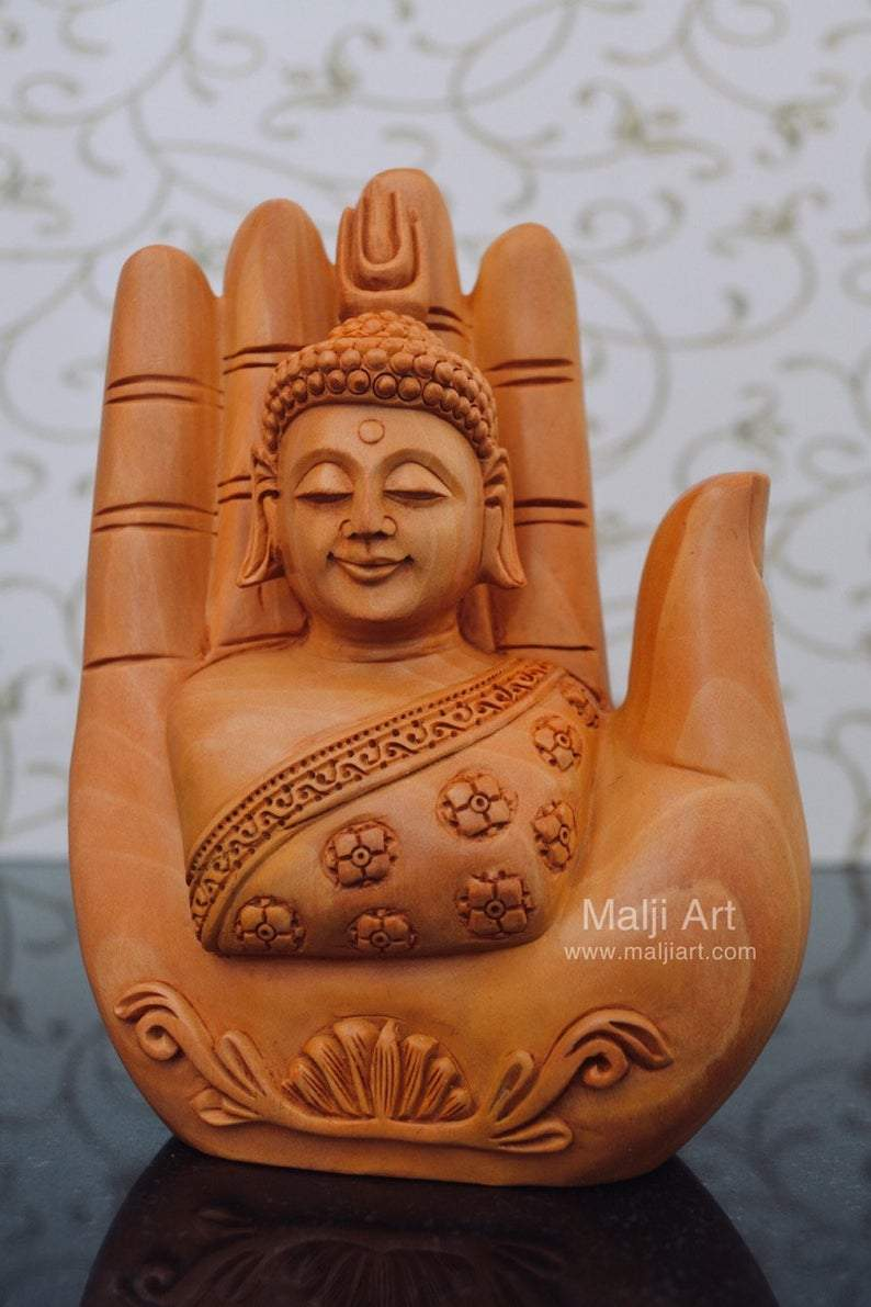 Wood Carved Super Fine Buddha in Palm Good Luck Statue - Arts99 - Online Art Gallery