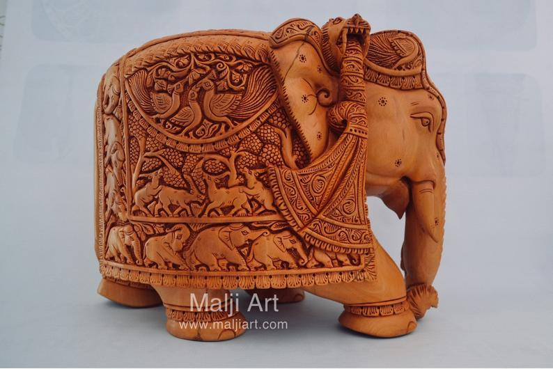 Big Wooden Very Fine Detailed Hand Carved Elephant Statue - Arts99 - Online Art Gallery