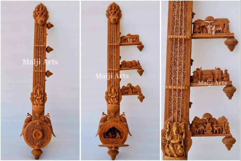Unique Sandalwood Carved Opening Sitar or Veena Collective Art-piece by National Awarded Jangid Family - Arts99 - Online Art Gallery