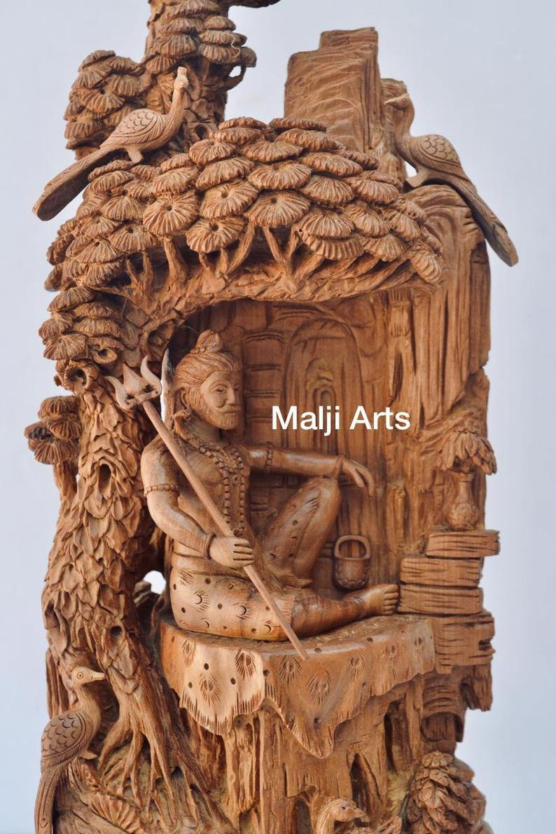 Sandalwood Beautifully Hand Carved Shiva Under Tree Statue - Arts99 - Online Art Gallery