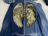 Gold Angel wings w/cross, style 3, 2tone heart on front