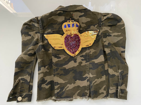 Kids Army Fatigue Mini Gold Angel wings/red heart