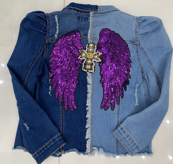 Purple Angel wings & cross/two tone denim (short)
