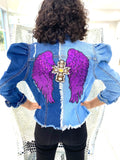 Super Star Denim + Purple Angel Wings + Cross