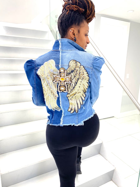Super Star Denim Gold Angel Wings + Cross + Heart