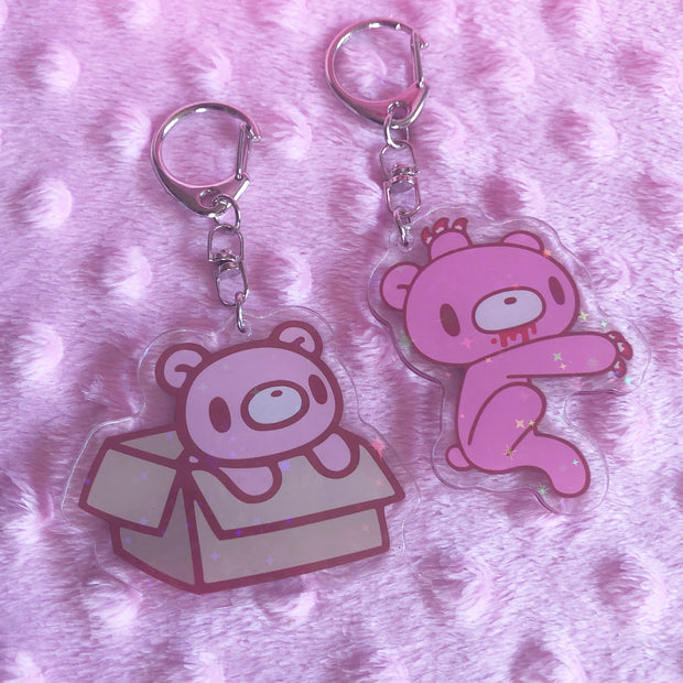 cute bear keychain. Holographic accents.