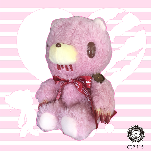 Pink Soft gloomy bear. Red ribbon. Valentine edition.