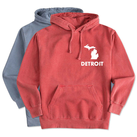NEW Detroit Street Apparel Michigan Detroit Comfort Color Hooded Sweatshirt