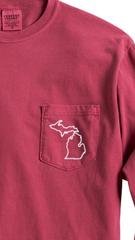 Detroit Street Apparel long sleeve Comfort Color Michigan Pocket T-Shirt