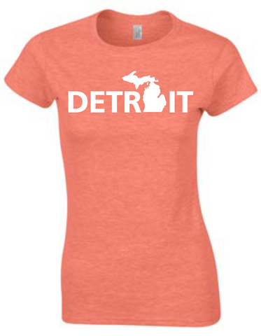 Detroit Street Apparel Detroit Michigan Mitten Ladies T-Shirt